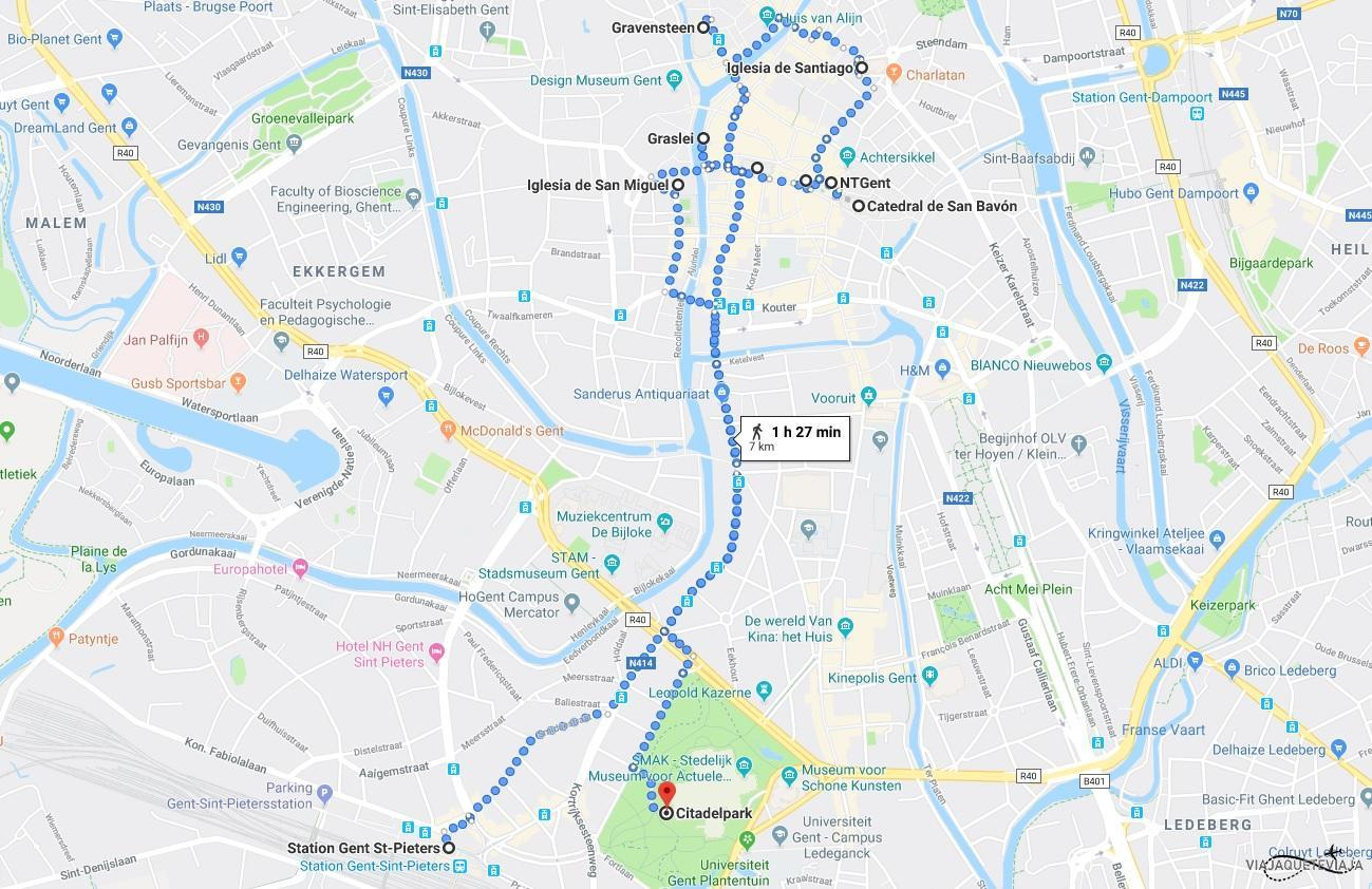 Mapa del recorrido por Gante