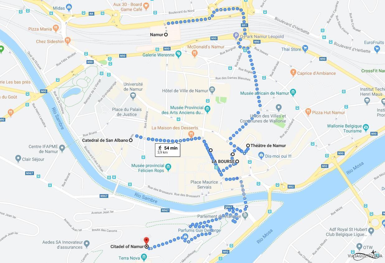 Mapa del recorrido de Namur