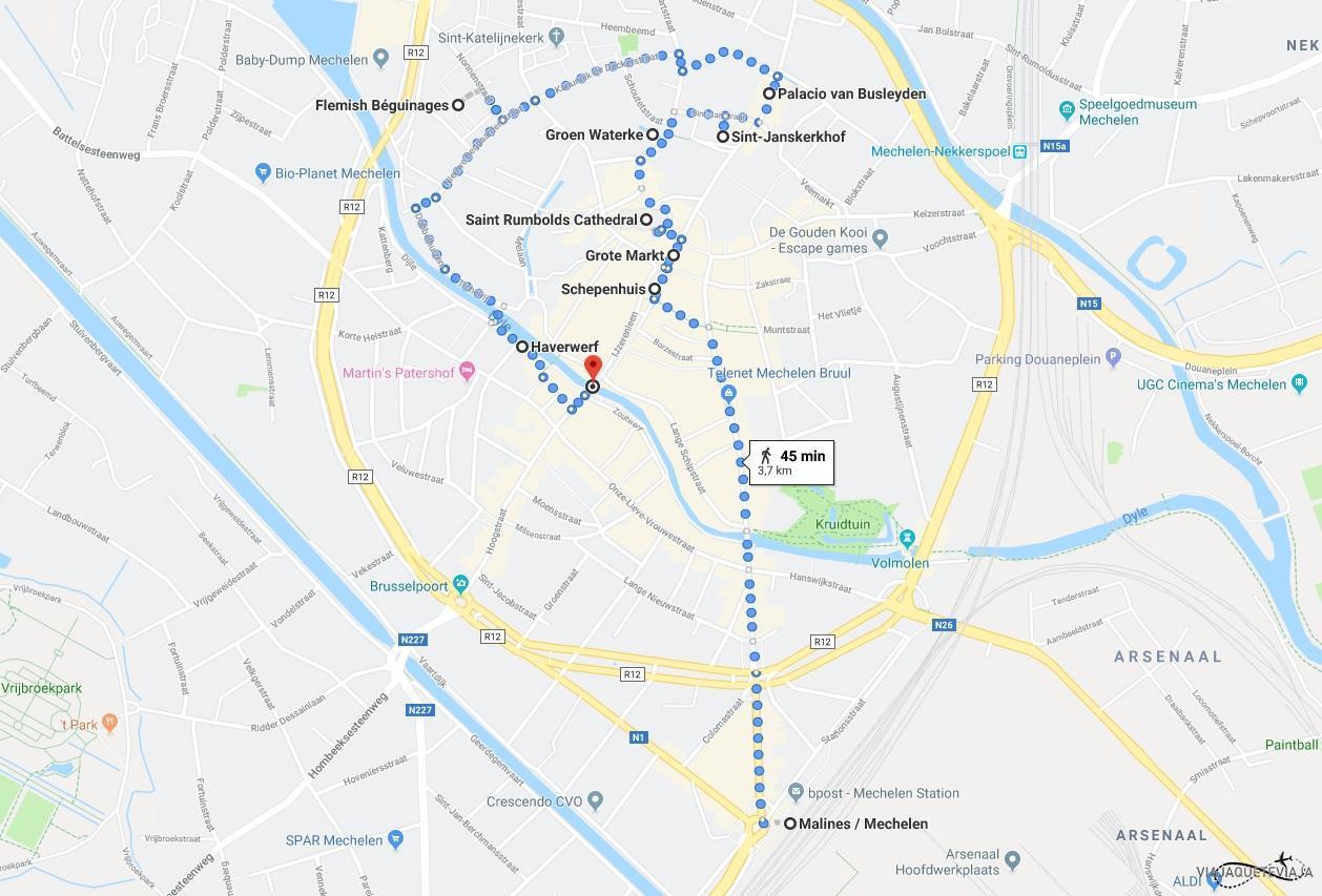Mapa del recorrido por Malinas